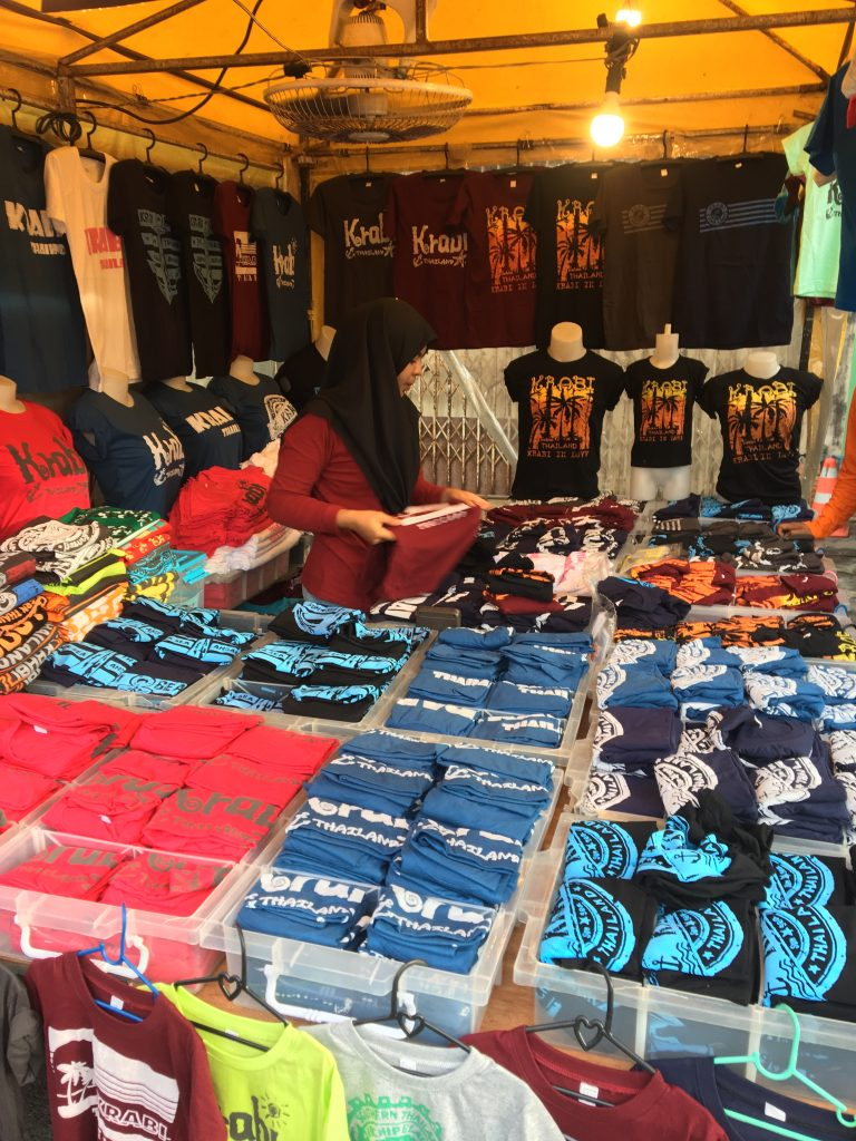 Clothes and bargains on the Walking street market in Krabi