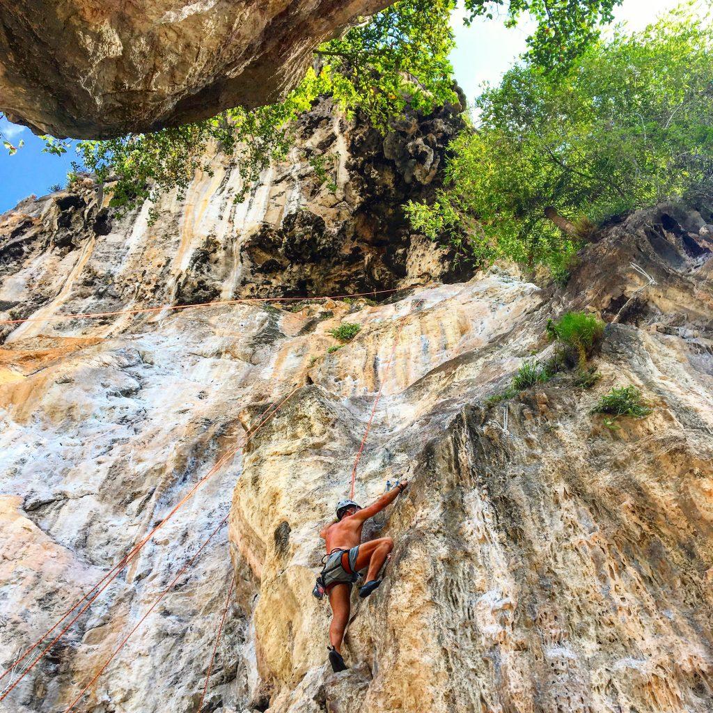 rock climbing on Railay beach Krabi