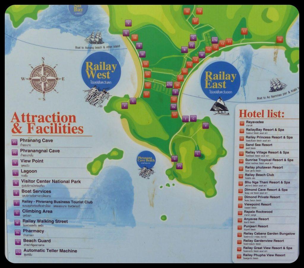 Railay beach Map