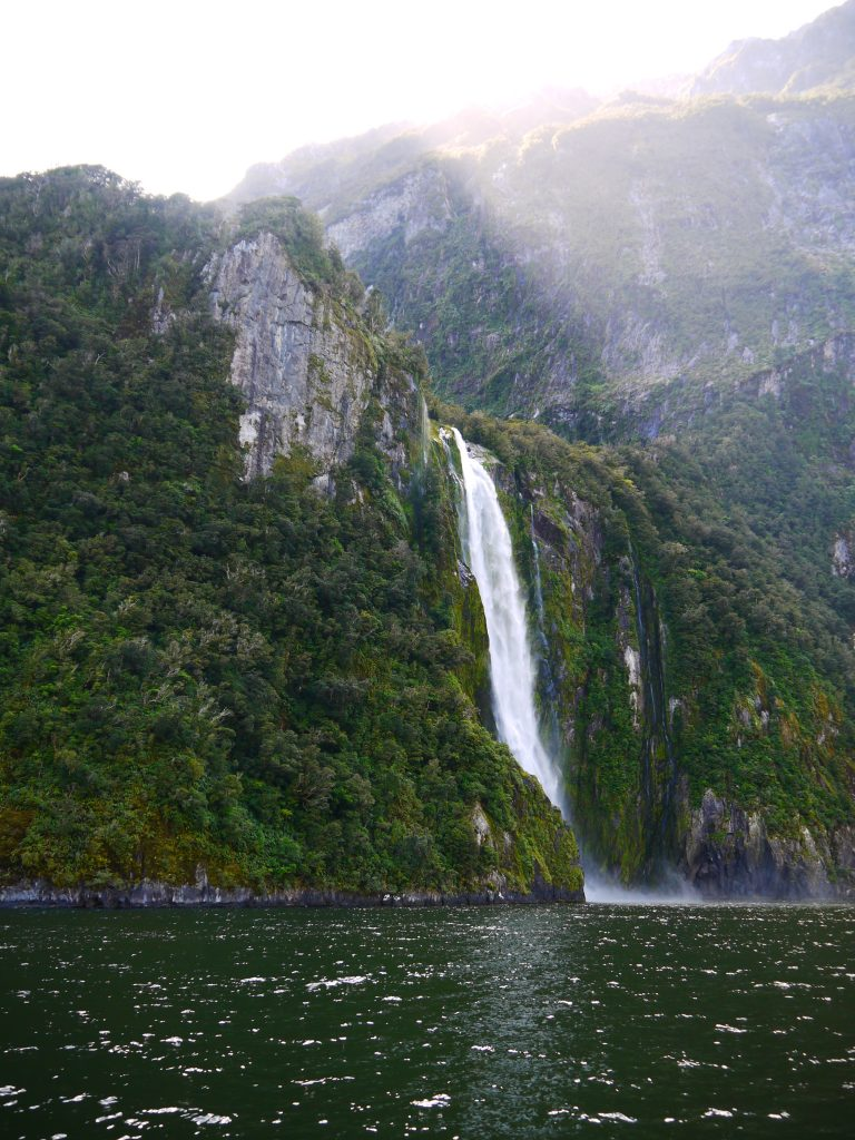 milford sound cruise waterfall