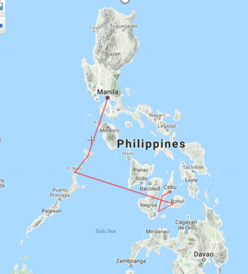 map of the philippines, philippines route, philippines route itinerary, route map of the Philippines