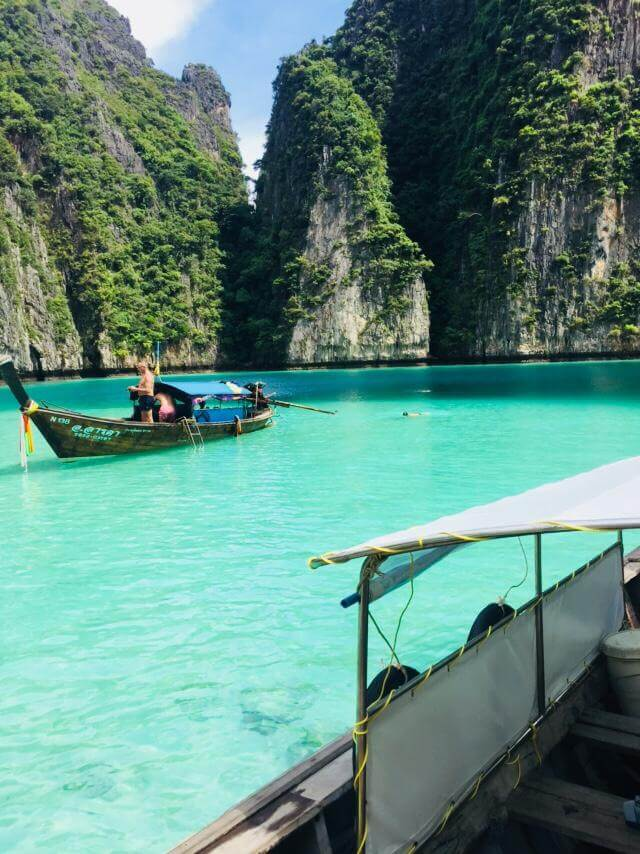 riding the long-tail boat tour around Phi Phi island and Pileh Lagoon