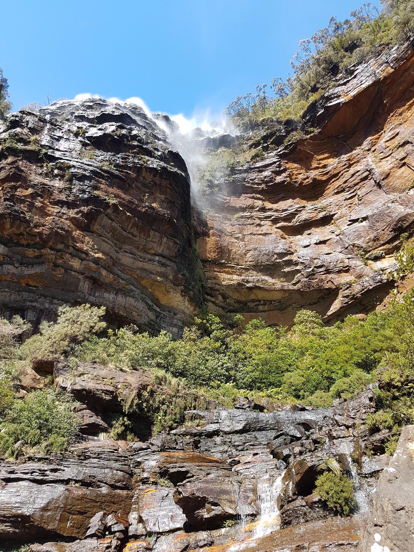 the lake and waterfall