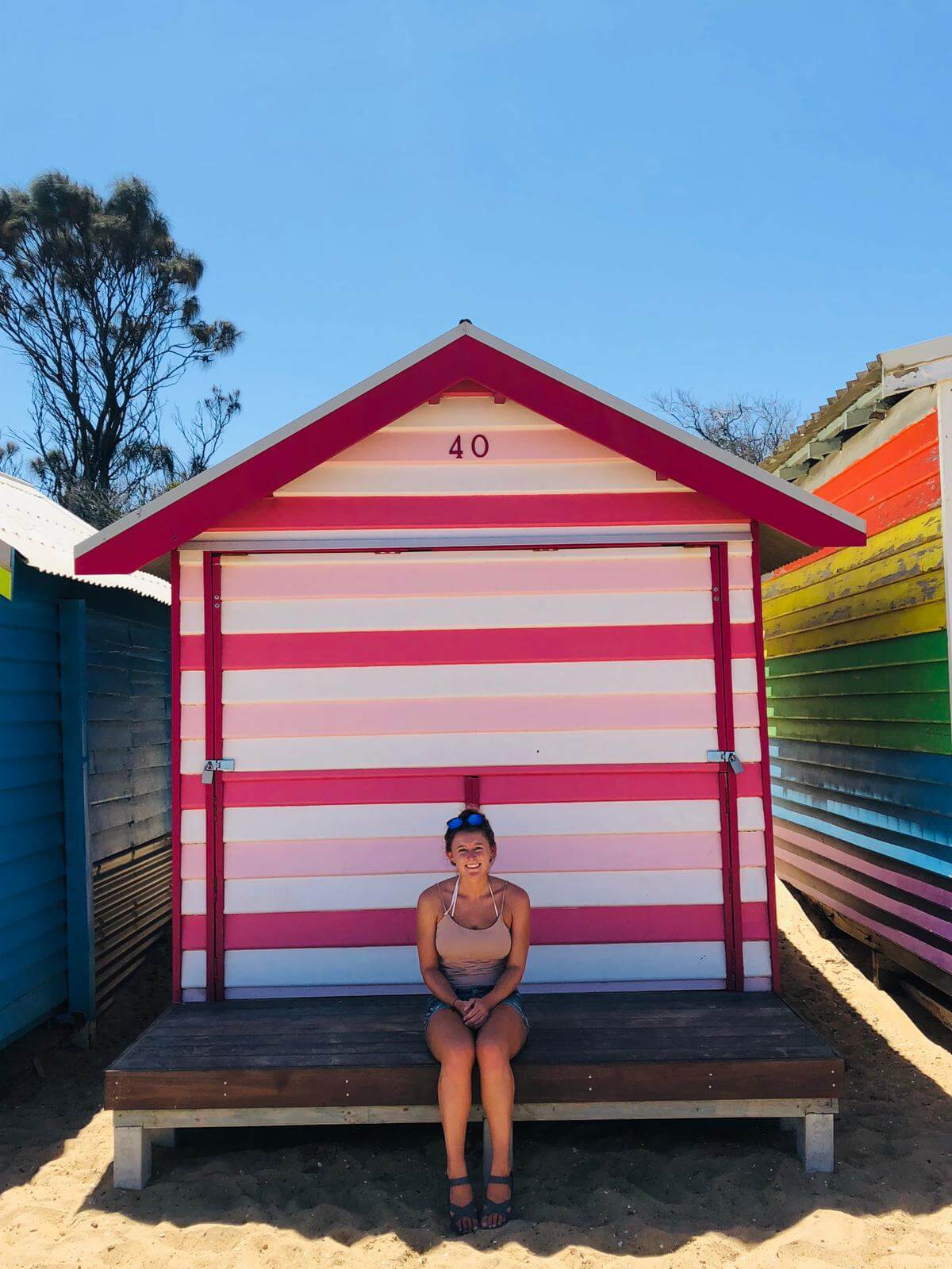 photo of the amazing colourful beach boxes on Brighton beach
