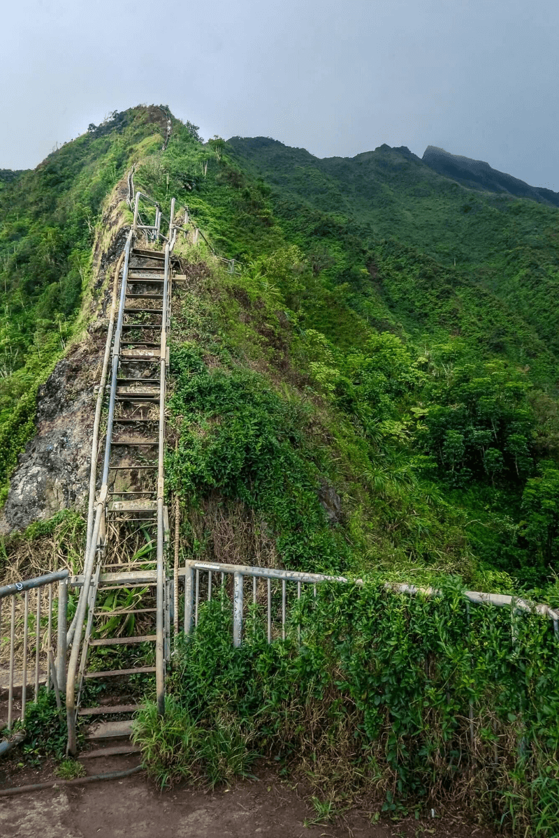climbing the Haiku Stairs by the hand rail