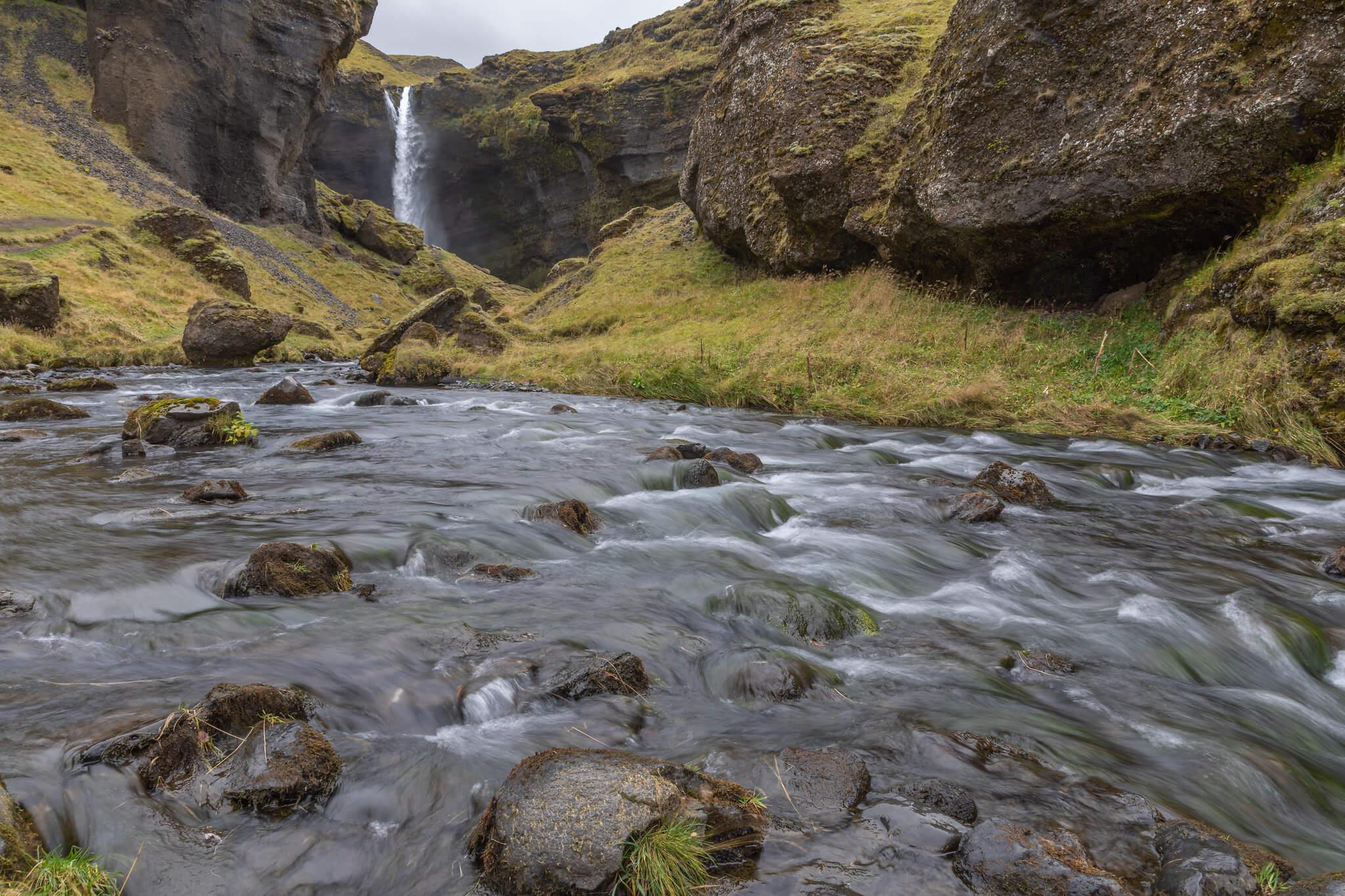 beautiful Kvernufoss Waterfall winter iceland